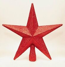 Christmas Tree Topper Decoration 200mm Shatterproof Glitter Star - Red