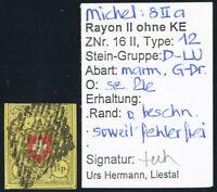 SCHWEIZ 1850, MiNr. 8 II a, Stein D, gestempelt, Befund Hermann, Mi. 130,-