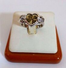 Lucky Charm! 14K White Gold Four Leaf Clover Ladies Ring with CZ's 4.4 Grams