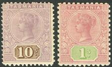 Tasmania - 1906-7 (SG.257a & 258) Tablets: 1/- perf.11; & 10/- perf.12½. Mint
