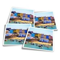 4x Square Stickers 10 cm - Tenby Harbour Wales UK Travel Boats  #24293