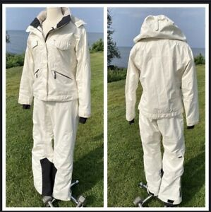 Vtg COLUMBIA White 2 piece Jacket and Snow Ski Pants Womans Size 12