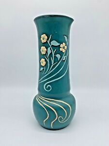 Vintage Collectible Hand-painted Moldova Clay Blue Vase Floral Design Home Decor