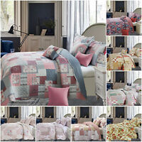 Patchwork Bedspread Vintage Quilted Throw Single Double King Printed Bedding Set