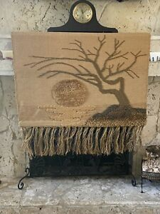 Retro Woven Boho Sun And Tree Of Life Fringe Textile Wall Tapestry ICA 1986