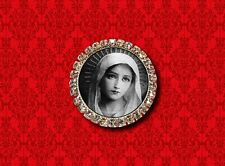 VIRGIN MARY SAINT MOTHER GOD CATHOLIC CHRISTIAN RELIGIOUS B&W LAPEL PIN BROOCH
