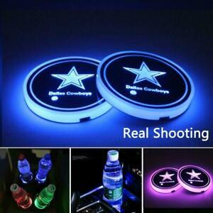 2PCS Dallas Cowboys Car Coaster Pad Auto Sensor Cup Holders 7 Colorful LED