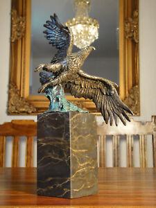 Bronze + Marmor Königsadler Adler Luxus Bronzefigur Statue Skulptur Figur Antik