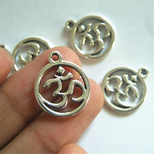 20 pcs Silver Yoga OM Symbol Round Charms Pendant Bead For DIY Jewlery Findings
