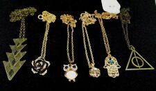 LOT 6 piece Assorted Necklace Jewelry Owl Rose Resale Lot Resell New no tags W5