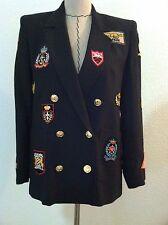 Vintage 80s women black blazer double breast gold button military patch size 2 4