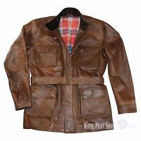 Leather Jacket for Men Vintage Antique Brown Motorbike Panther Belt Benjamin Pit