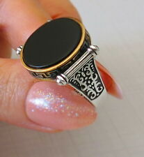 TURKISH MEN RING 925 STERLING SILVER BLACK ONYX AGATE STONE  #668