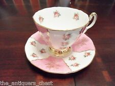 Adderley England lusterware pink and flowers  cup and saucer[*86]