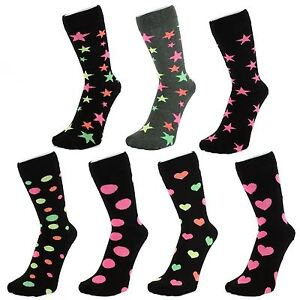 Black Ankle Socks With Neon Coloured Hearts Dots Stars (Size: 4-7)