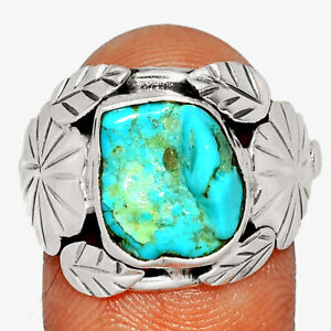 Southwest Style - Sleeping Beauty Turquoise Rough 925 Silver Ring s.8 BR77722