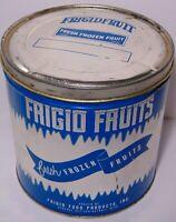 Large Vintage 1960s FRIGID FOOD FRUIT FROZEN ICE GRAPHIC TIN DETROIT MICHIGAN MI