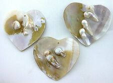 ONE Heart Natural Mabe Blister Pearl Shell Gemstone Gem Stone Focal Bead EBS7859