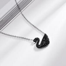 Pave Black Cubic Zirconia Silver SP Swan Pendant Chain Necklace