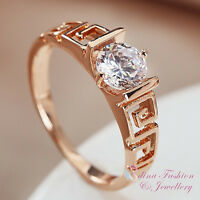 18K Rose Gold Plated Simulated Diamond 0.75 ct Hollow-out Vintage Wedding Ring