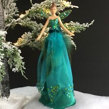 Turquoise Peacock Feather Fairy Christmas Tree Top Decoration Gisela Graham