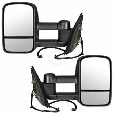 Tow Mirror Power Heated Textured Black Pair Set of 2 for GM Pickup SUV New