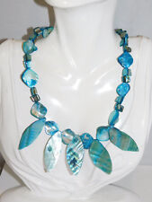 Aqua Turquoise Blue Carved MOP Shell Pendant Glass Seed bead Necklace 6j 10