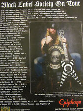 Zakk Wylde, Black Label Society, Epiphone Guitars, Tour Full Page Promotional Ad