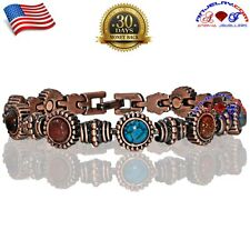 COPPER MAGNETIC GOLF BRACELET WOMEN ARTHRITIS PAIN MULTI GEMSTONE X37_7