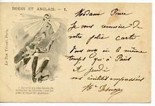 ANGLO-BOER WAR 1901 postcard 'Boers & Anglais' no 1 to Paris BW039