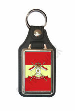 9TH QUEEN'S ROYAL LANCERS CAP BADGE ON A LEATHER STYLE KEY RING.