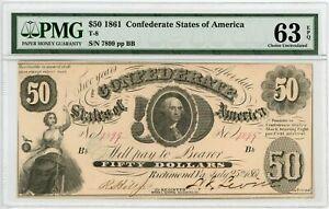 1861 T-8 $50 Confederate States of America  PMG Choice Uncirculated 63 EPQ