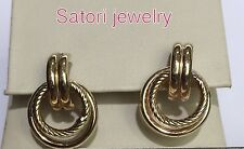 14 KT Solid Yellow Gold Cable Open Double Hoop Studs Earrings New Gift