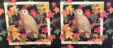 Vintage owl fabric Fall Autumn leaves cotton quilting Pillow Panel Wamsutta