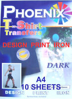 IRON ON T TEE Shirt DARK Transfer Paper A4 10 Sheets