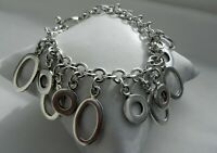 GORGEOUS CLASSY🌠 43g sterling silver 925 fully HM oval and round charm bracelet
