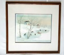 P. Buckley Moss Framed Print Family Fun Amish Ice Skating