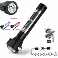 Solar Power LED Flashlight With Hammer Power Bank Magnet Compass Survival Tool