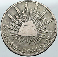 1868 Zs OM MEXICO Large Eagle Sun Antique Mexican Silver 8 Reales Coin i88606