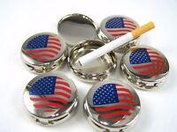 Set of 6 Portable Metal Ashtray Ashtrays Cigarette Travel Pocket Purse USA Flag