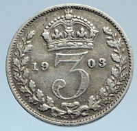 1903 UK - GREAT BRITAIN Silver Threepence Coin EDWARD VII United Kingdom i74304