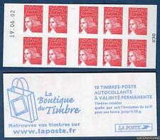 Carnet - 3419 C6 - 19.06.02 Haut -Type Marianne du 14 Juillet RF - TVP rouge N°