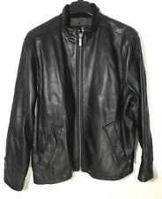 Kenneth Cole Reaction Leather Jacket Coat Mens XL 100% Leather Black Soft Heavy