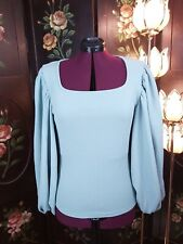 Light blue Shein Blouse with Bishop Sleeves textured material size reads 0XL