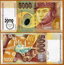 Slovakia, 5000 Korun, 2000 Millennium Issue, Rare, UNC