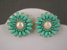 "Turquoise earrings faux pearl bead beaded flower floral stud post 13/16"" wide"