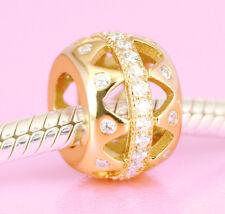 Vermeil GOLD Beautiful Elegant Drum BEAD with 38 Sparkling CZ For Charm Bracelet