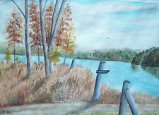 Vintage Autumn Lake View Watercolor - Initialed - Framed - Canada - 20th Century