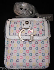 GUESS Marciano Primary Messenger Crossbody Hip Bag Purse White Multi Color G New