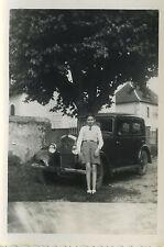 PHOTO ANCIENNE - VINTAGE SNAPSHOT - VOITURE PEUGEOT 201 ARBRE - OLD CAR TREE